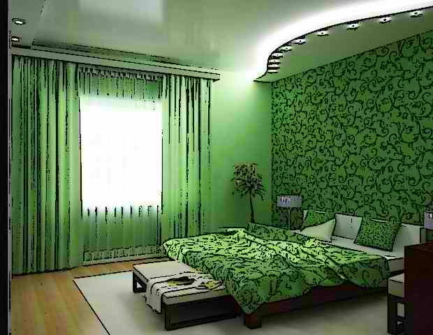 Дизайн спальни в зеленых тонах фото
