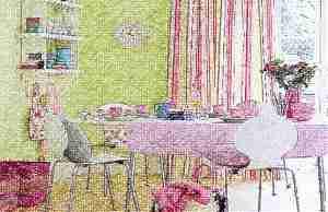 Розовый и оливковый в интерьере